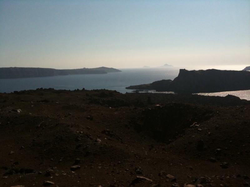 Vista de Palea Kameni (ilha do vulcão), Santorini